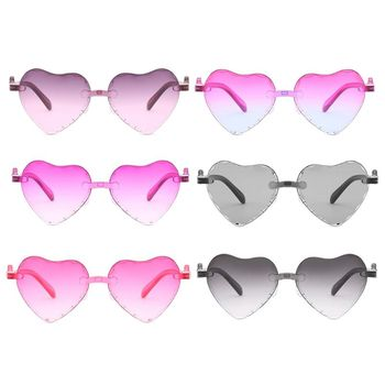 цена на Fashion Kids  Hats & Caps Love Heart Shape Sunglasses Rimless Frame Tint Clear Lens Colorful Sun Glasses Pink Shade