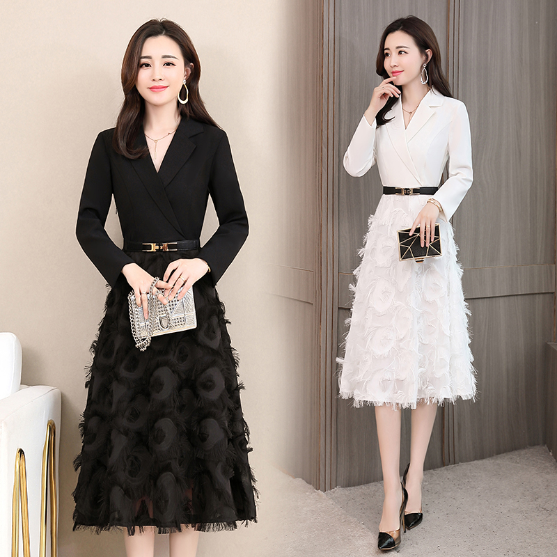 2019 Spring Women Casual Elegant Sexy Solid White Cocktail Midi Dress Party Dress Women's Dresses Long Sleeve Vestidos ZT1958-in Dresses from Women's Clothing    1