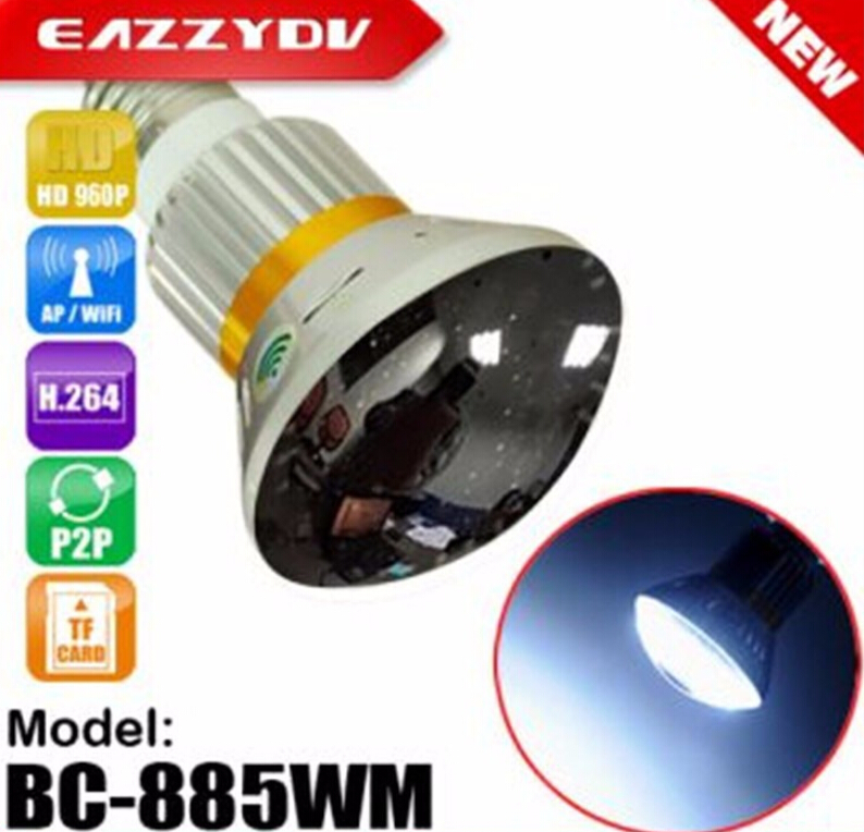 885WM HD 960P P2P Mirror Led Bulb WiFi/AP IP Camera 5W  Light Night Vision Motion Dection Surveillance Camera 2017 New Arrival bc 883m mirror bulb lamp camera hd 960p wifi ap hd 960p ip network camera with real light remote control 2017 new arrival