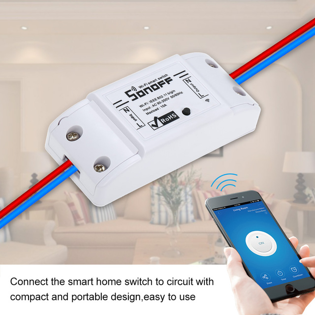 2/3/4/5/6/8/10pcs SONOFF Basic Wifi Switch for Alexa Google Home Timer 10A/2200W Wireless Remote Switch Smart Automation Module