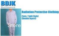 방사선 보호 복 세트 금속 섬유 전도성 직물 2 레이어 보호 복 및 작업복
