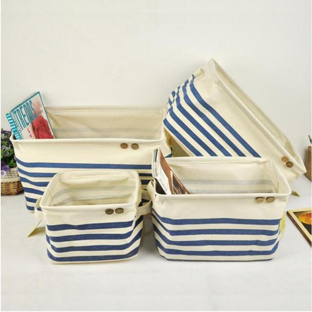 Blue Stripe Canvas Fabric Storage Bin Box Kids Toys Basket Foldable Books  Sundries Desk Storage Organizer