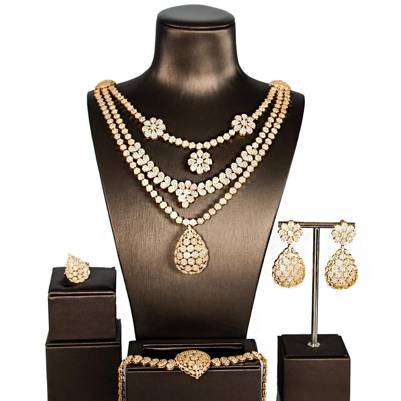 LAN PALACE joyería africana de la boda de la aleación de cobre zirconia cúbica conjunto de joyas pendientes collar anillo pulsera envío gratis-in Conjuntos de joyería from Joyería y accesorios    1