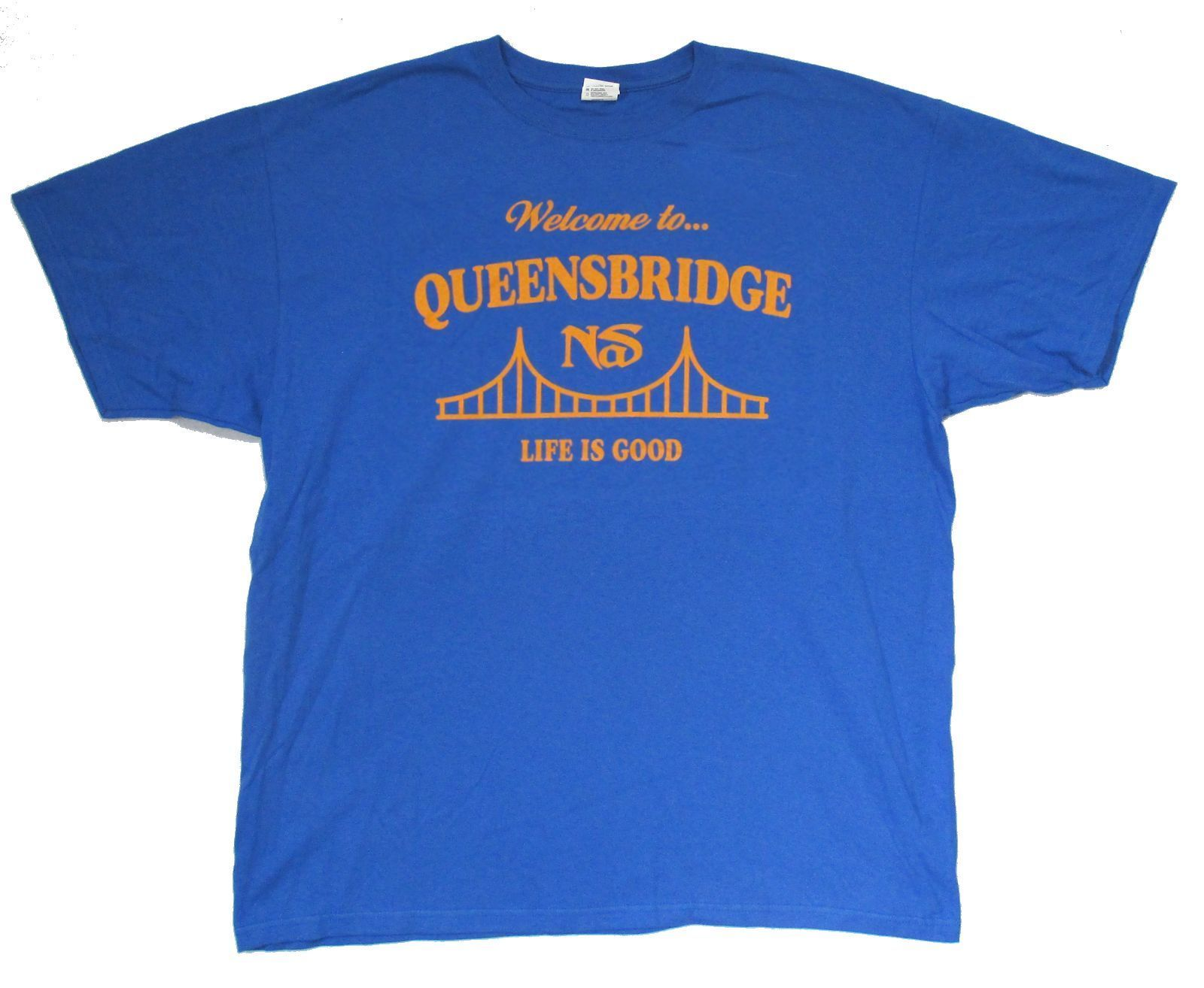 US $14 99 |NAS WELCOME TO QUEENSBRIDGE LIFE IS GOOD BLUE T SHIRT 3XL NEW  OFFICIAL ILLMATIC Fashion Men T Shirt Free Shipping top tee-in T-Shirts  from