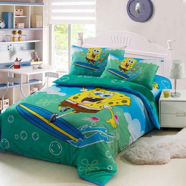 New High Quality Home Children Bedding Set Of Spongebob, 2 Pillow Case, 1  Bed