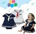 Macacão de bebê meninas Crianças criança vestido Do Marinheiro da marinha estilo macacão Crianças 2 cores Branco Azul de Manga Curta roupas de verão