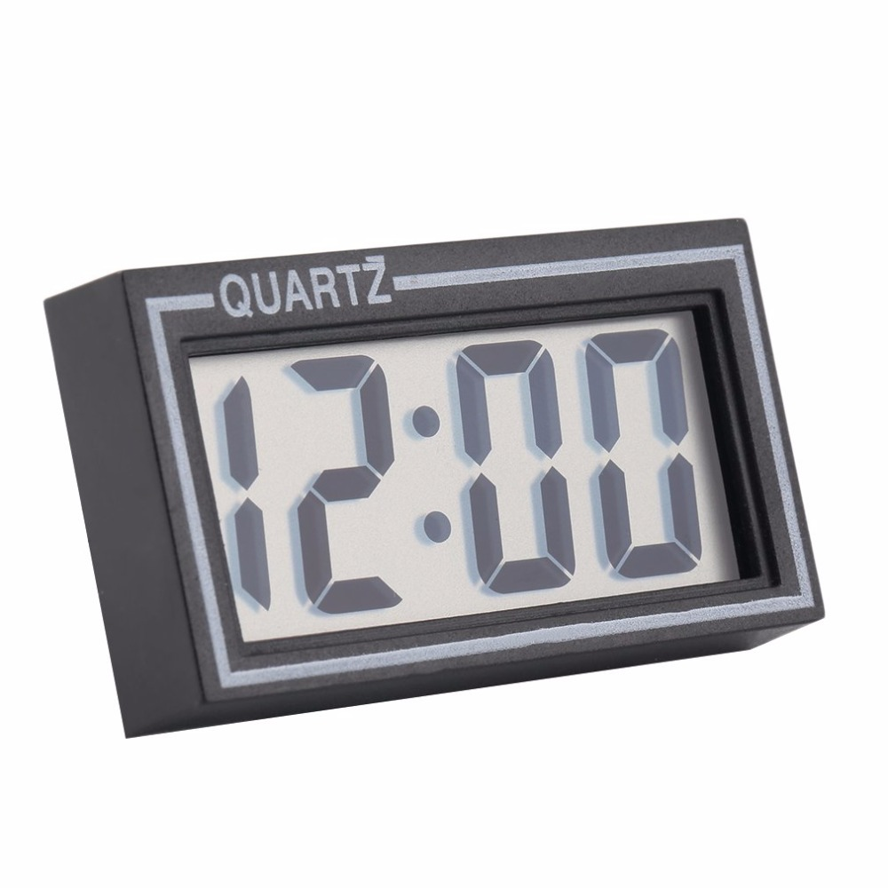 Black Plastic Small Size Digital LCD Table Car Dashboard Desk Date Time Calendar Small Clock With Calendar Function TS-CD92