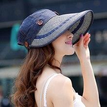Kenmont sombrero del cubo gorras algodón cáñamo mujeres Lady Girl verano  Color sólido ala ancha Dom fe23701c6f8