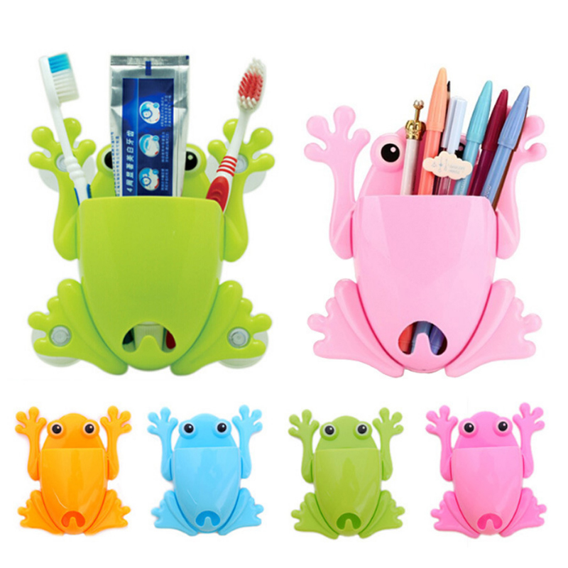 Toothbrush Holder Wall Cute Frog Shaped Toothbrush Holder Stand For Kids Makeup Tools Wall Stick Organizer Bathroom Accessories image