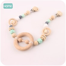 MamimamiHome Kids Toys Wooden Pacifier Clip Wooden Ring Teether Infant BPA Free Teether Baby Play Gym Stroller Toy Baby Rattle(China)