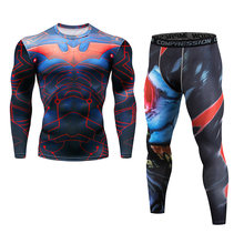 3D T shirts Men Compression Red Batman Cosplay Tops Male Clothes Long Sleeve Basketball Jersey Jogging gym sport Yoga suit set(China)
