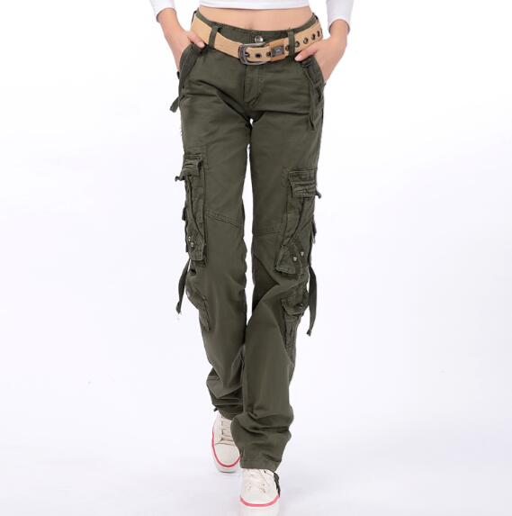 Straight pants for women high waist pockets casual