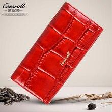 cossroll Brand Genuine Leather Wallet Women Purses Female Designer Clip Wallet Ladies Alligator Card Holder Coin