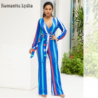 Sexy V Neck Striped Jumpsuits Women Wide Leg Pant Elegant Button Pattern Romper Female Summer Full Length Jumpsuit