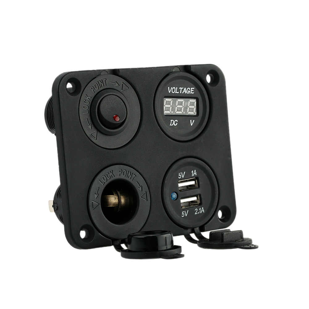 Four Hole Dual USB Socket + Panel Base + Voltmeter Meter + Power Socket ON-OFF Button Switches for Car Truck Motorcycle Boat ATV