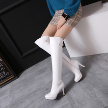 Leather high heels Plus size 34-46 boots white black