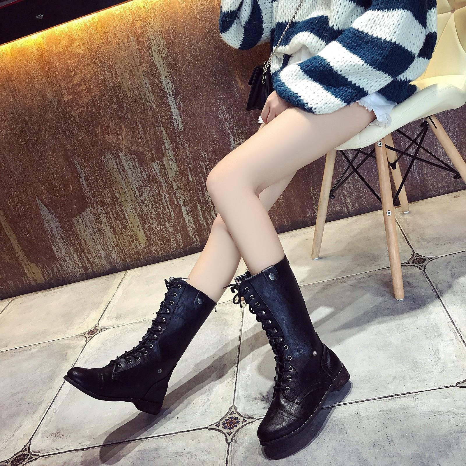 Dames 2018 Hiver marron Chaussures Mujer9 Botas mollet Mi Femmes Mujer Romaine Cowboy Bottes Femme Boucle Martin Zapatos Équitation Noir De wqI45Sd