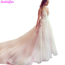 amanda novias V Neck Pink Wedding Dresses Open Back Sleeveless A Line Floor Length Bridal Dress sukienka na wesele
