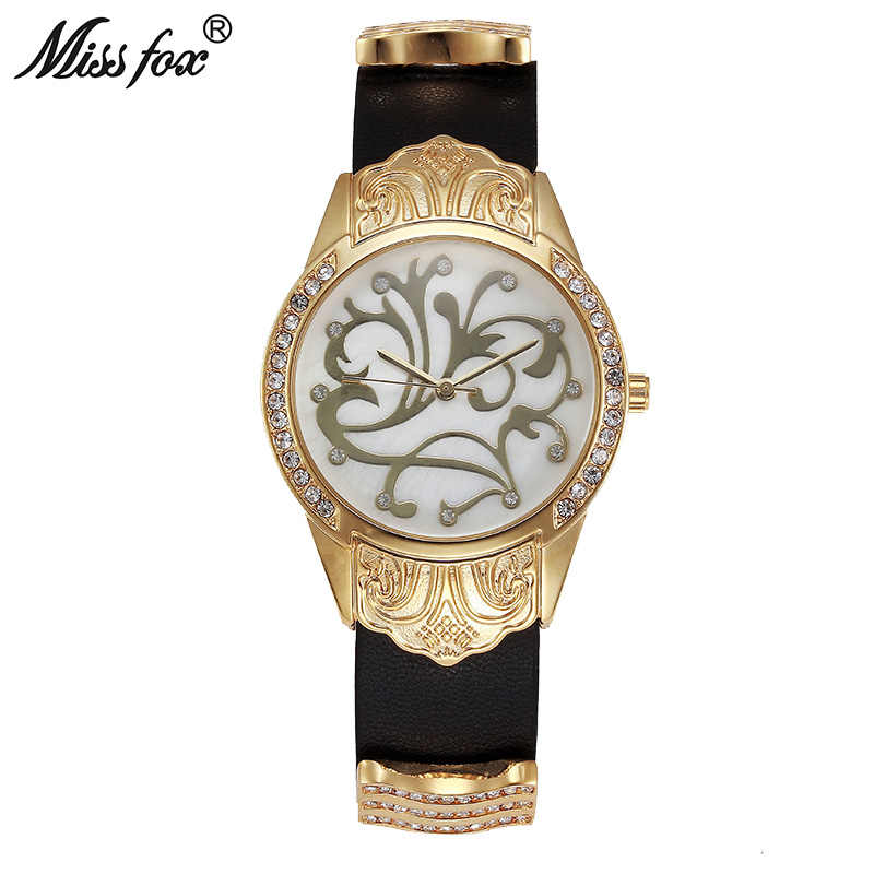 Miss Fox Gold Watch Women Dress Flower Article Montre Homme Marque De Luxe Stainless Steel Back Water Resistant Relogio Feminino