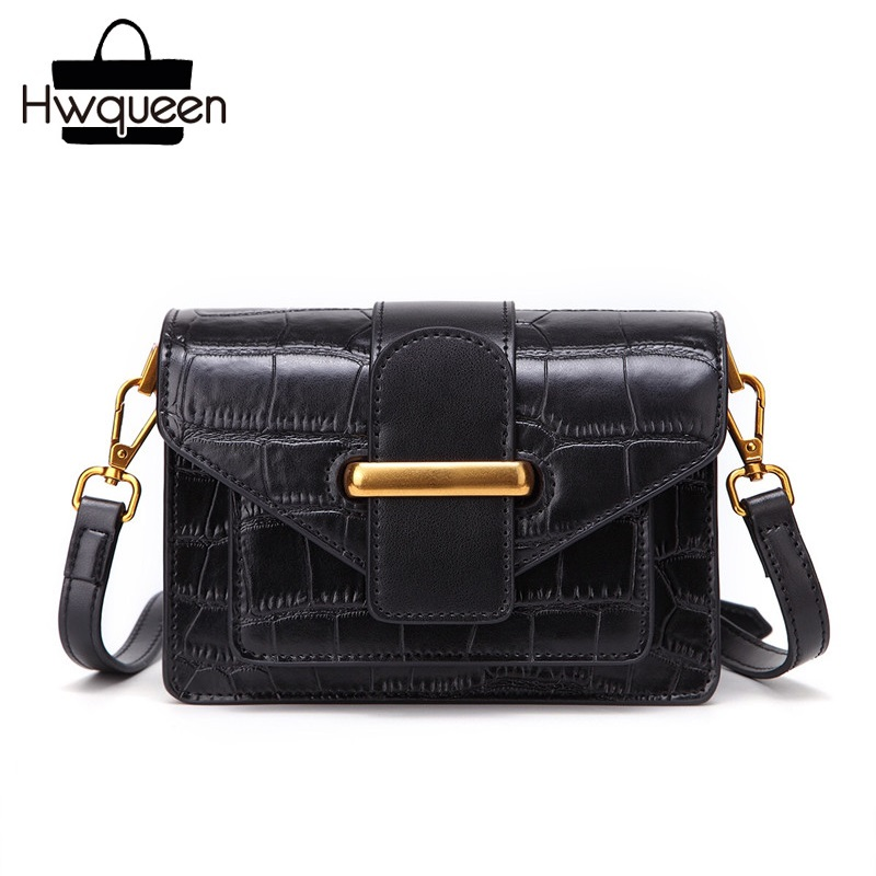 Classical Crocodile Pattern Designer Genuine Leather Lady Small Flap Shoulder Bag Women's Mini Crossbody Bag Female Sling Bag crocodile pattern cube shaped crossbody bag