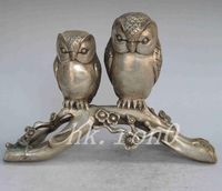 Exquisite Chinese Old White Copper statue carved with one pair of owls sitting on the tree stumps