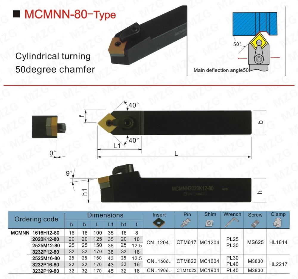 MZG MCMNN2020K12-80 Lathe Machining Cutter External Boring Cutting Toolholder