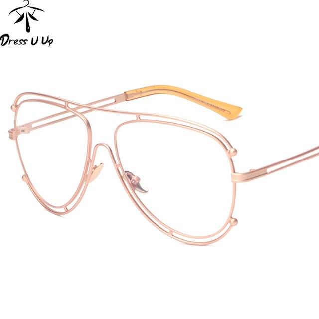 1188d889ae DRESSUUP 2017 Vintage surdimensionné cadre lunettes femmes clair lunettes  cadre pour homme optique alliage cadre lunette