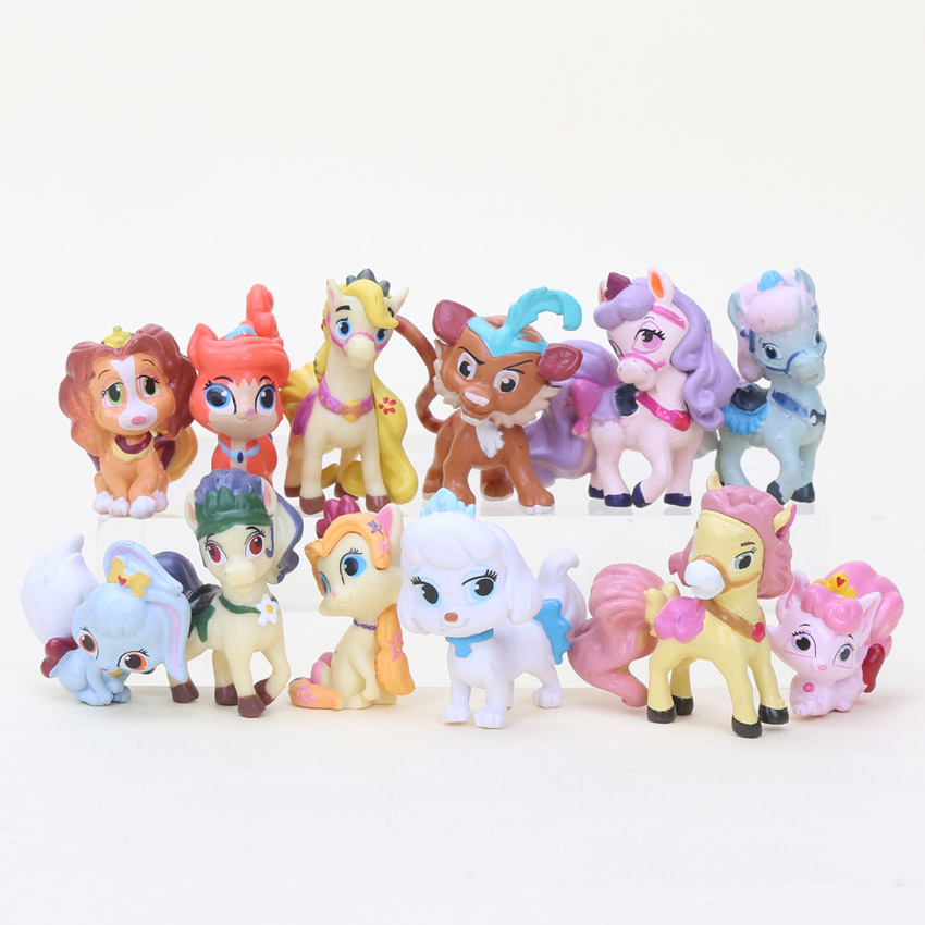 12Pcs/set Princess Palace Pet Snow Whites Puppy princess cat dog PVC Collection Toy Figure Action Model Doll childrens gift ...