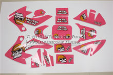 3 M Decals Emblemen Stickers Graphics CRF50 SSR SDG DHZ Thumpstar pit dirt Bike Roze Kleur Metal Mulisha Stijl(China)