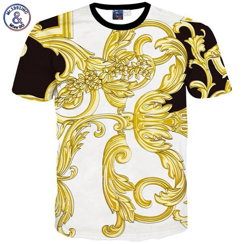 Mr.1991INC 3d T shirt Men/women short sleeve cotton tshirt print Golden Phoenix flowers Camiseta T-shirt T17