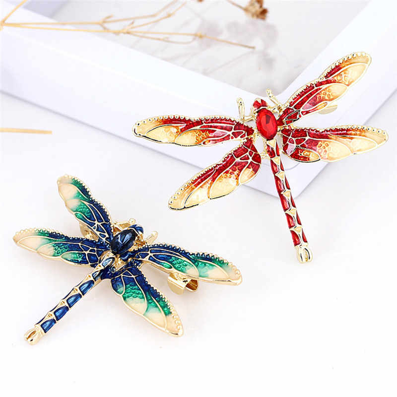Paduan Logam Perjamuan Pernikahan Bros Pins Hadiah Hijau Merah Hitam Enamel Dragonfly Serangga Bros untuk Wanita Pria