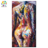 hand painted Modern naked girl oil painting woman back home decoration canvas wall art abstract Human Graffiti body picture