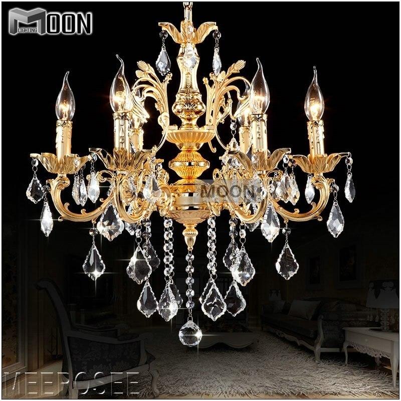 Classique 6 bras doré clair cristal Lustre luminaire cristal Lustre suspension lampe pour hall d'entrée MD8861 L6 D580mm H600mm