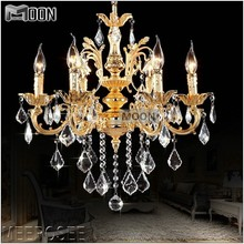 цена Classic 6 Arms Golden Clear Crystal Chandelier Light Fixture Crystal Lustre Hanging Lamp for Foyer Lobby MD8861 L6 D580mm H600mm онлайн в 2017 году