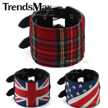 Trendsmax Handmade Leather Bracelet Punk Black UK Britain US Scottish Tartan Plaid Wristband Studs Buckle Adjustable