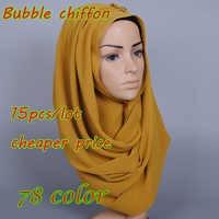 78 color 15pcs/lot High quality plain bubble chiffon printe endshield shawls headband popular hijab summer muslim scarves/scarf