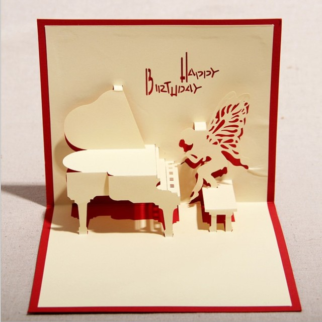 Hand Acoustic Piano Meaning New 3D Stereoscopic Staff Birthday Greeting Card Business Of High End