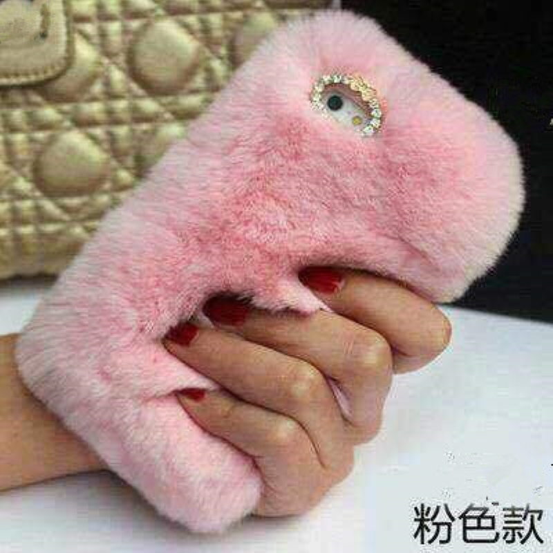 Luxury Real Rex Rabbit Fluffy Fur Phone Case for iPhone 7