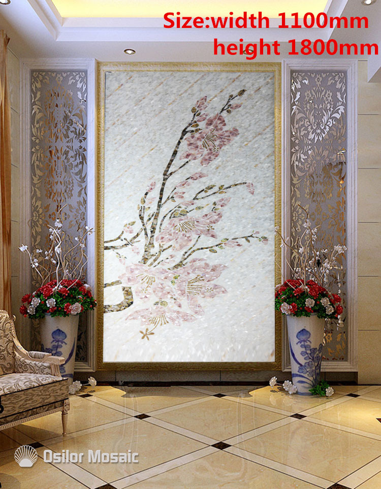 Customized Handmade Mosaic Art Mother Of Pearl Mosaic Tile Art Murals For Interior House Decoration Flower Pattern