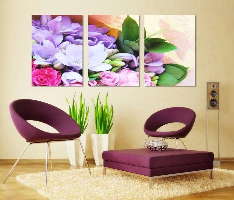 Couleur fleur pour canap d coration murale 3 panneaux - Peinture pour salon de jardin ...