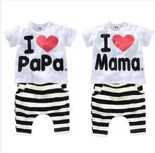 цены на 2018 Children Clothing Summer Set boys girls I Love Papa and Mama short sleeve t-shirt+pants suit kids pajamas set в интернет-магазинах