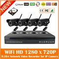 4ch Kit de Vigilancia de 720 p Onvif P2p 1.0mp Wireless Wi Fi al aire libre A Prueba de agua de Red Nvr Sistema Cctv Con 1 tb Hdd Caliente venta