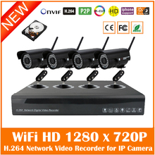 4ch Wireless 1.0mp Wi Fi Surveillance Kit 720p Onvif P2p Outdoor Waterproof Network Nvr Cctv System With 1tb Hdd Hot Sale