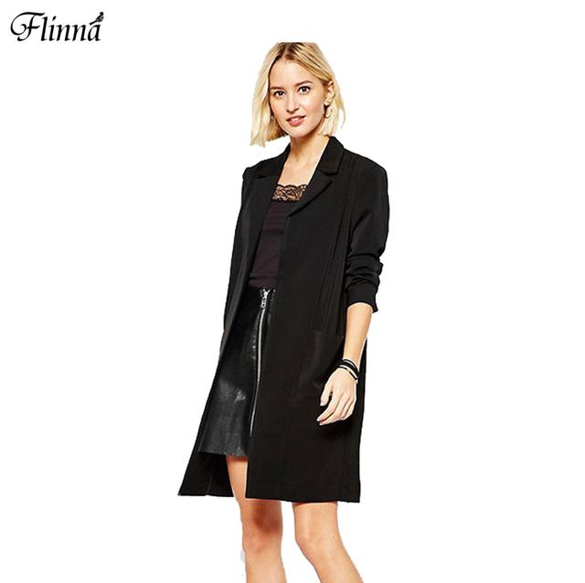 2017 Spring Women Formal A- Line Black Solid Open Stitch Fashion Slim Cool Trench Office Lady Coat