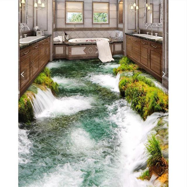 Modern Floor painting Modern Art pebbles flower Waterproof Bathroom kitchen balcony PVC Wall paper