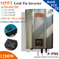 1200W MPPT solar Grid Tie Micro Inverter with IP65 waterproof,50 86VDC,220V(190 260VAC),LED&LCD display for solar panel system