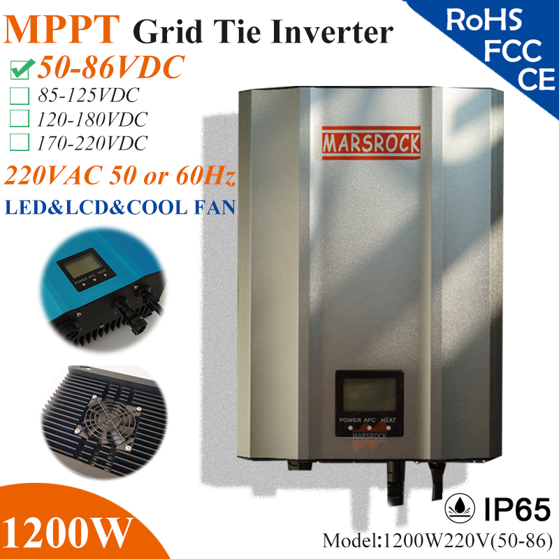 1200W MPPT solar Grid Tie Micro Inverter with IP65 waterproof,50-86VDC,220V(190-260VAC),LED&LCD display for solar panel system 22 50v dc to ac110v or 220v waterproof 1200w grid tie mppt micro inverter with wireless communication function for 36v pv system
