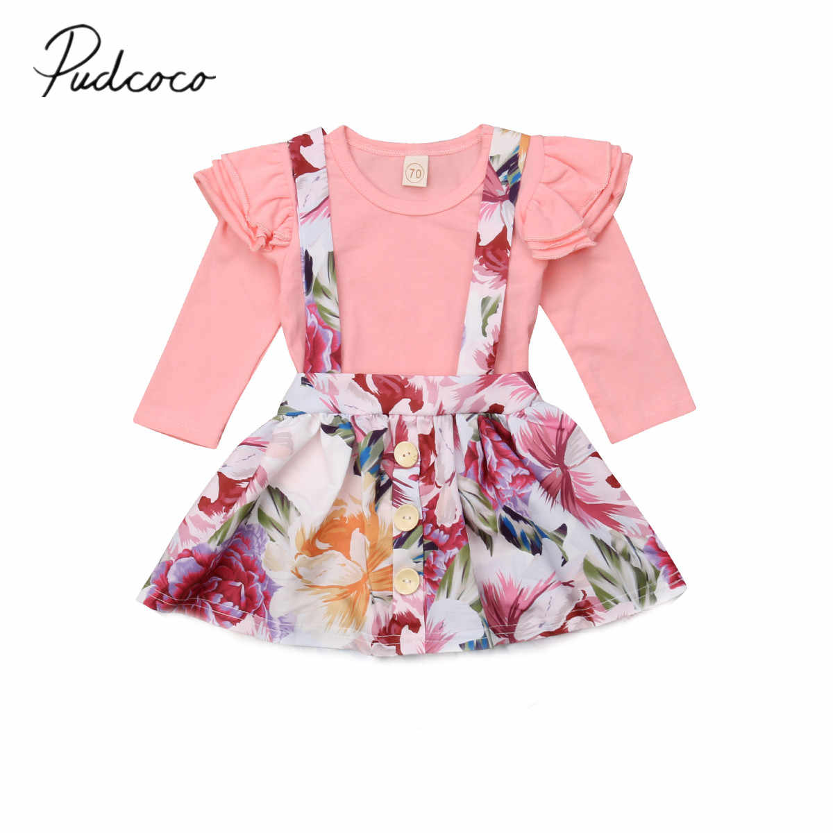 41efab942ea5d 2018 Brand New 0-24M Newborn Toddler Baby Girls Clothes Sets 2PCS Long  Sleeve Pink Jumpsuits Tops+Flowers Print Overalls Dress