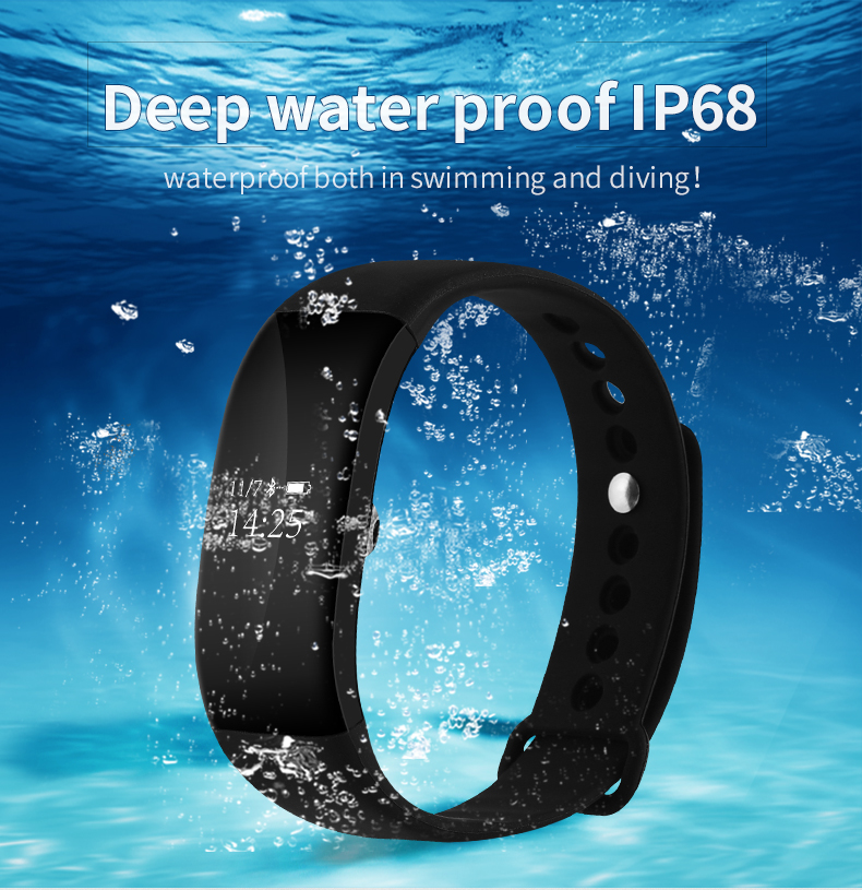 IP68 Waterproof V66 Heart Rate Monitor Smart Wristband Blood Pressure Anti lost Sedentary Remind Bracelet Smartwatch