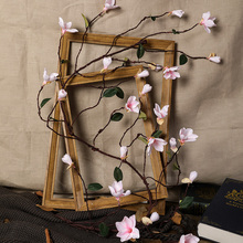 155 cm long 24 heads mangnolia flowers wall decorations aritificial tree magnolia orchid flower rattan silk flores vine H0038